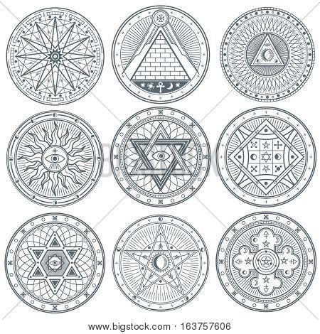Mystery, witchcraft, occult, alchemy, mystical vintage gothic vector tattoo symbols. Mystical masonic symbols set illustration