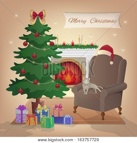 Merry Christmas interior with fireplace, Christmas tree, armchair, boxes with gifts, candles, Santa Claus hat, decorations, cat, stars, carpet. Waiting for the Noel New Year and Xmas. Vector