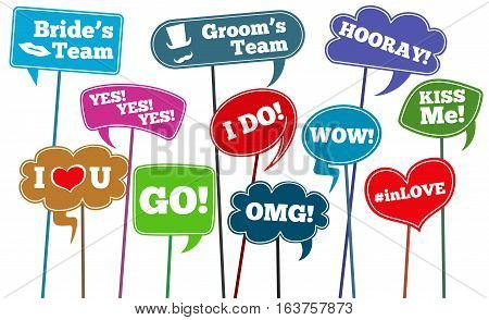 Funny weddings phrases, brides team vector photo props. Wedding phrase on stick in speech bubbles illustration