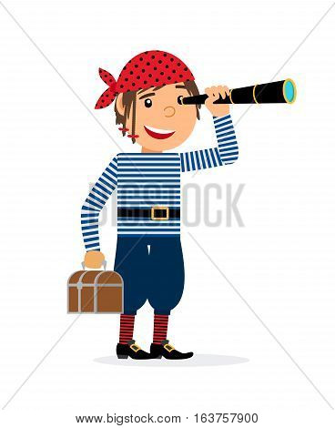 Pirate looking in the spyglass with the chest of treasures. Vector illustration