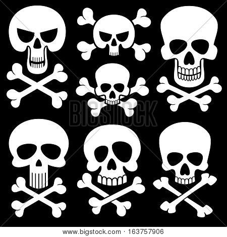 Piracy skull and crossbones vector icons. Death, scary symbols. Set of white skull and cross bones illustration