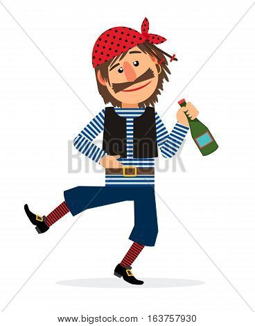 Pirate jolly dancing and holding the bottle of rum cartoon character on white background. Vector illustration