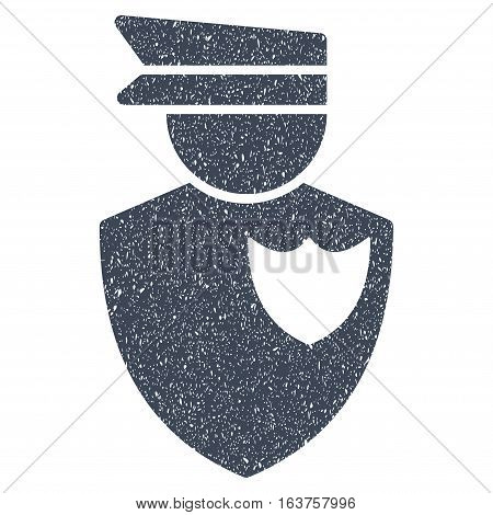 Policeman grainy textured icon for overlay watermark stamps. Flat symbol with unclean texture. Dotted vector smooth blue ink rubber seal stamp with grunge design on a white background.