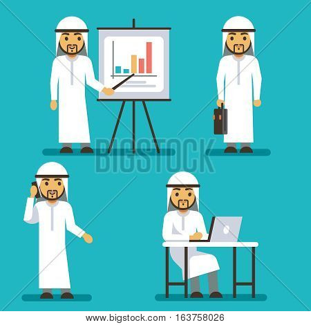 Arab man vector character in different business situations. Arabian business man presentation graphic, illustration of arab man manager work
