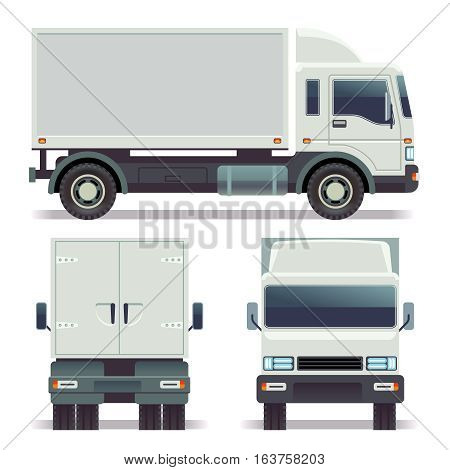 Small truck front, back and side view for cargo transportation. vector template for corporate identity. Truck van for delivery service, illustration of white car truck