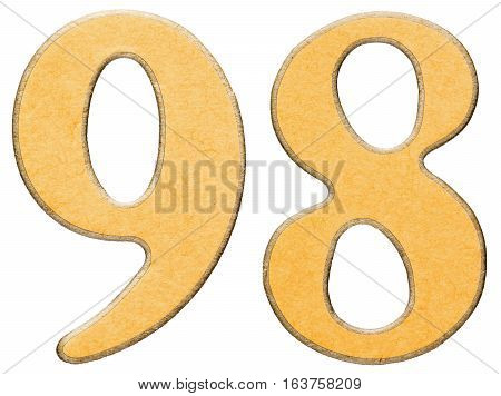 98, Ninety Eight, Numeral Of Wood Combined With Yellow Insert, Isolated On White Background