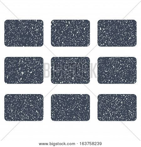 Rectangles Grid grainy textured icon for overlay watermark stamps. Flat symbol with dirty texture. Dotted vector smooth blue ink rubber seal stamp with grunge design on a white background.