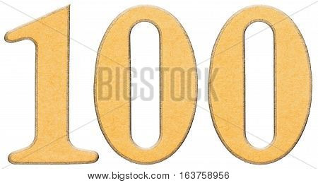 100, One Hundred, Numeral Of Wood Combined With Yellow Insert, Isolated On White Background