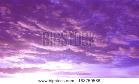 Silhouette sunrise sky pink with magenta and cloud Photography has reflex radius made to presentation background.