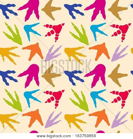Dinosaur footprints vector seamless pattern. Background with color footprins animal, illustration of dinosaur footprints