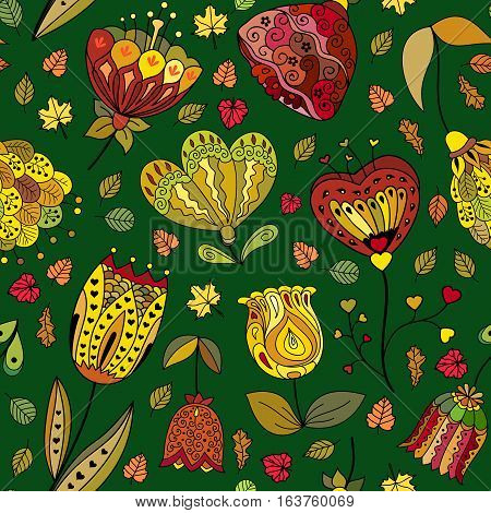 Vector autumn doodles seamless pattern. Use for wallpaper pattern fills web page background.
