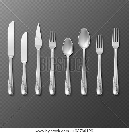 Vector realistic cutlery set, silver or steel fork, spoon, knife. Utensil spoon and fork for restaurant, knife and fork for dinner illustration