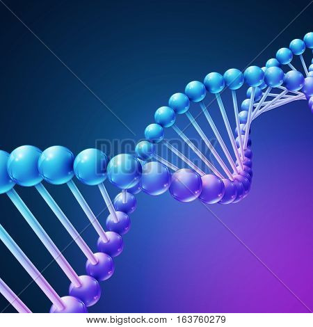 Digital nature, medical science vector background with DNA molecules. Dna genome chain, illustration of biotechnology dna evolution