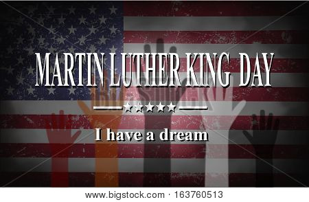 Martin Luther King Day American flags and colorful hands illustration