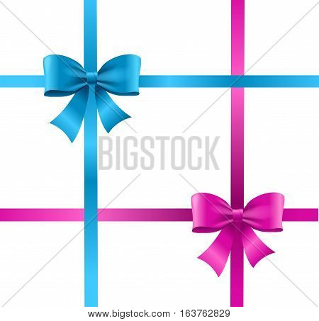 Present Satin Ribbon and Bow Violet, Blue Knot for Decoration Holiday Gift . Vector illustration