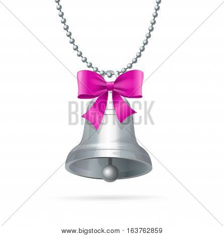 Silver Ring Bell with Bow Hanging Chain Symbol Of The Holiday For Web. Vector illustration