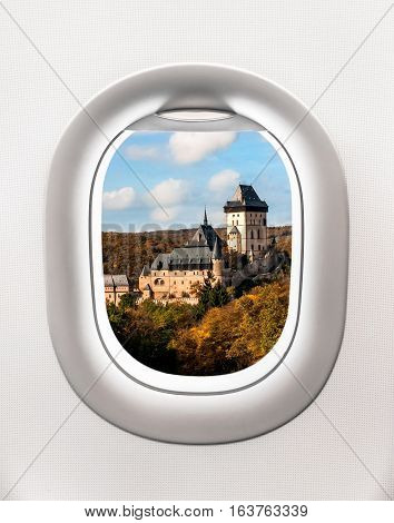 Looking Out The Window Of A Plane To The Karlstejn Castle