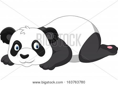 Vector illustration of Cute panda cartoon on white background