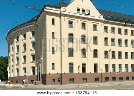 Kaliningrad, Russia - June 27, 2010: Old building with Yantarenergo office. Former building of establishment of post and check calculations. It is constructed in 1924-26.
