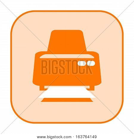 Printer orange icon isolated on white background