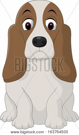 Vector illustration of Cartoon happy Basset Hound dog sitting