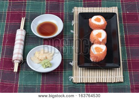 Salmon Mayo Rolll ,salad Cream In Salmon Topped Shrimp Eggs.