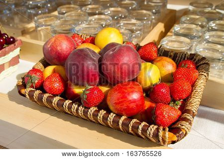 A set of fruits - apples and strawberries