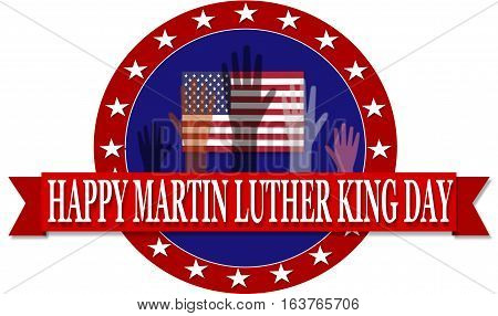 Martin Luther King Day Banner With Hands Illustration