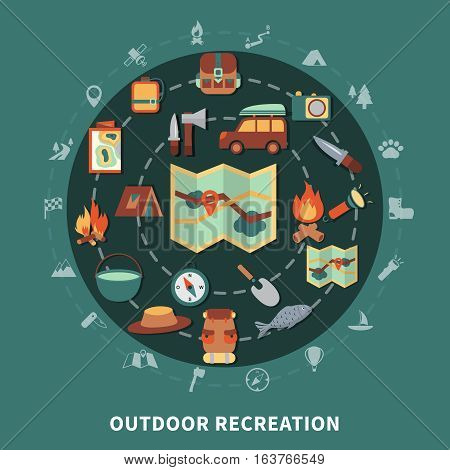 Camping flat composition with outdoor recreation elements flat vector illustration