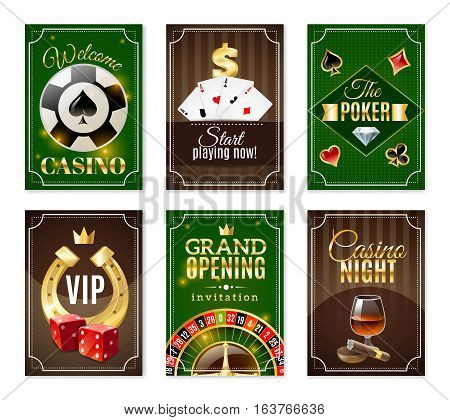 Casino cards back 6 mini posters banners set with  red dice and gold horseshoe isolated vector illustration
