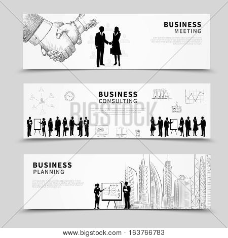Business people horizontal banner set with meeting planning and consulting scenes isolated vector illustration