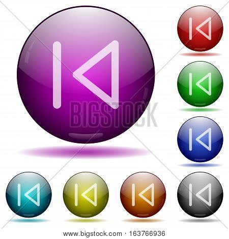 Media prev icons in color glass sphere buttons with shadows