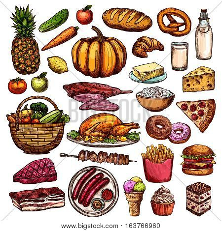 Hand drawn food collection with meat dishes desserts vegetables fruits milk products pizza bread isolated vector illustration