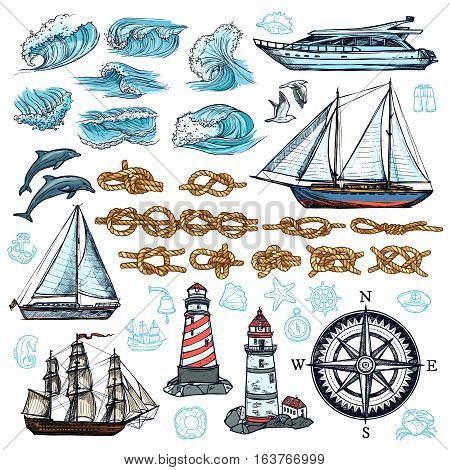 Marine sketch set of ship boat rope knots lighthouses waves sea animals compass isolated vector illustration