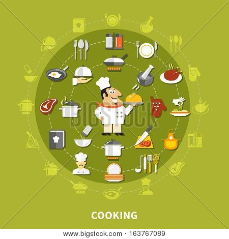 Cooking icons circle collection with chef fried chicken steak apron cookbook mitt kitchen utensils isolated vector illustration