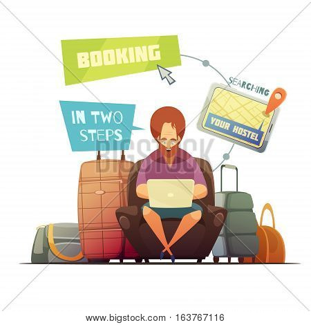 Hostel booking design concept with cartoon hipster busy online searching of guest house flat vector illustration