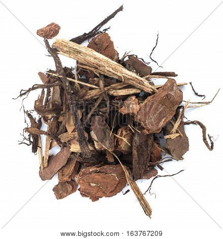 Heap Of Pine Tree Bark Chip Isolated
