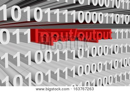Input output in binary code, 3D illustration