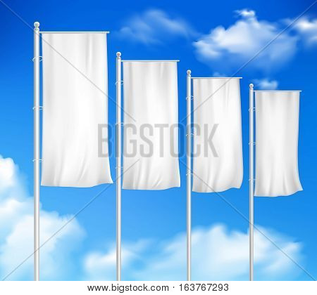 Four white blank pole flags set template for outdoor decor sale event advertisement sky background vector illustration