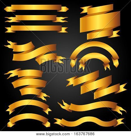 Set of golden banners, ribbons and labels.