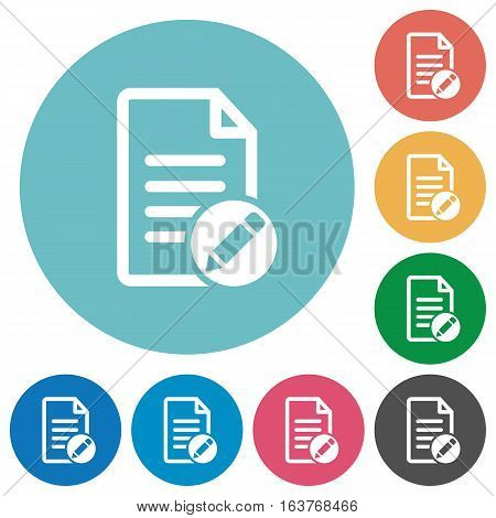 Rename document flat white icons on round color backgrounds
