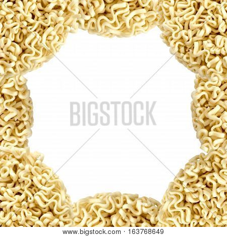 Frame Of Instant Noodles Or Ramen On White Background