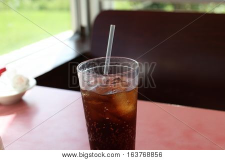 Close up of a soft drink at a resturaunt booth
