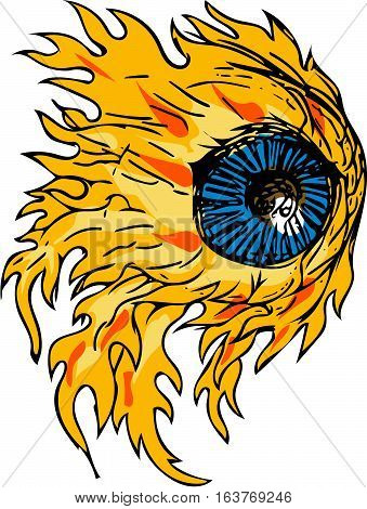Drawing sketch style illustration of an eyeball on fire viewed from front set on isolated white background.