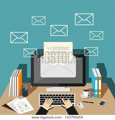 Sending or receiving email. Email marketing. Reading new email concept.