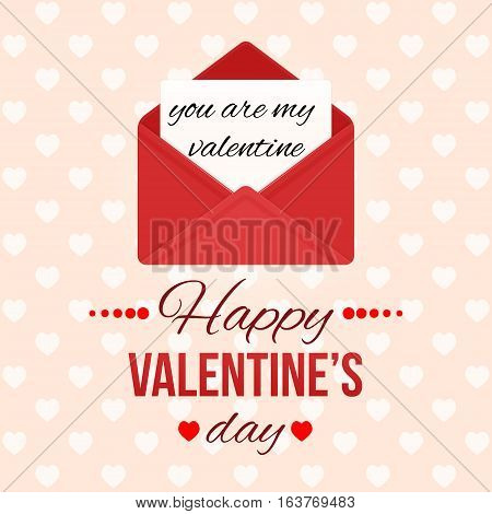 Valentine's day background with hearts. Love message. Red open envelope with letter. Romantic mail. Creative colorful modern vector illustration. Holiday template greeting card flyer poster design