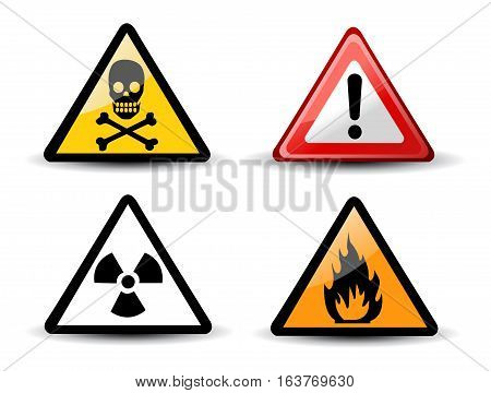 Set of Triangular Warning Hazard Signs on white