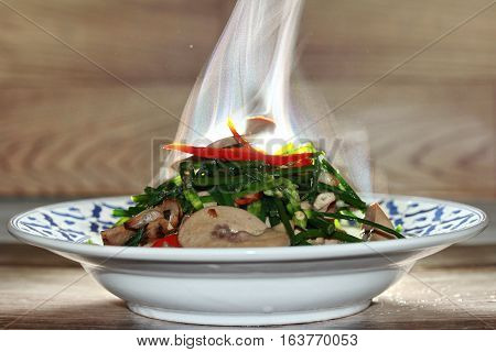 Aroma ,spicy Fried Chinese Chives With Chicken Spleen.