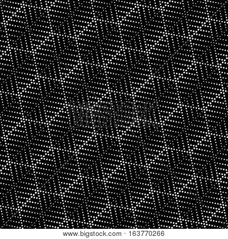 Vector seamless pattern. Abstract small dotted textured background. Modern stylish texture. Regularly repeating stylish geometrical tiles with dots dotted striped hexagons. Black and white polka dot.