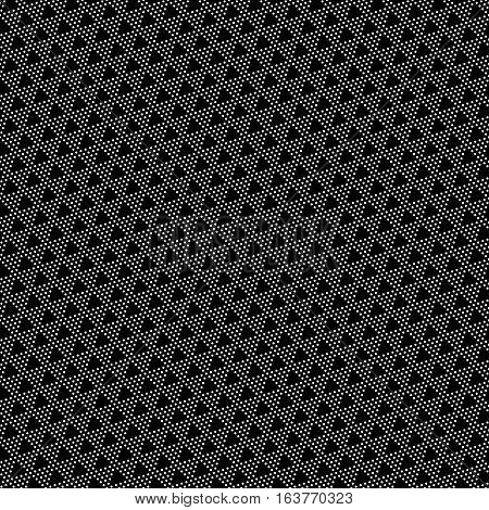 Vector seamless pattern. Modern geometric texture with regularly repeating dotted triangles. Abstract digital paper. Black and white polka dot.